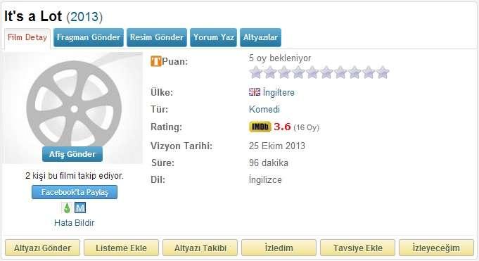 Its a Lot - 2013 BDRip x264 - Türkçe Altyazılı Tek Link indir