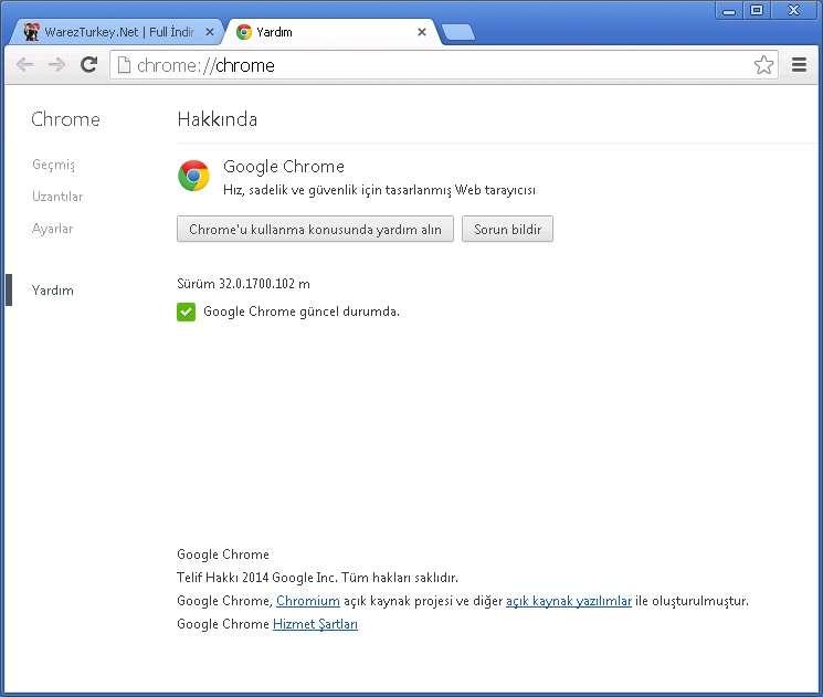 Google Chrome v32.0.1700.102 Türkçe (Win/Mac/Linux)