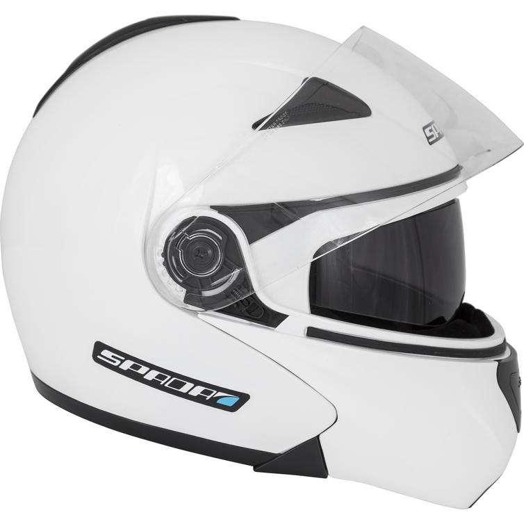 SPADA REVEAL FLIP FRONT UP SUN VISOR MOTORBIKE MOTORCYCLE WHITE HELMET