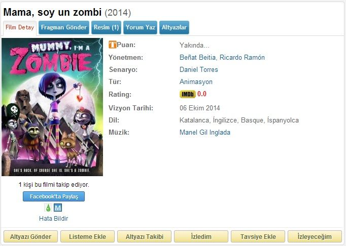Mummy Im A Zombie - 2014 DVDRip XviD AC3 - Türkçe Altyazılı Tek Link indir