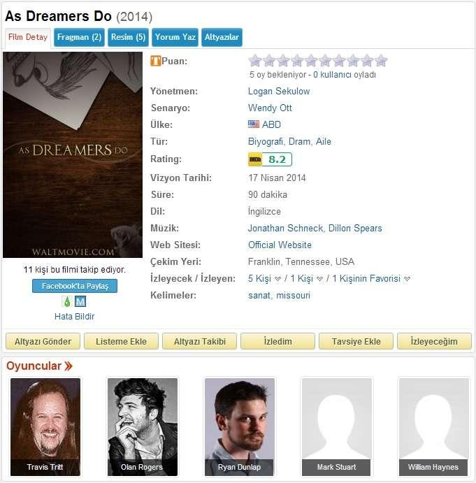 As Dreamers Do - 2014 BDRip x264 - Türkçe Altyazılı Tek Link indir