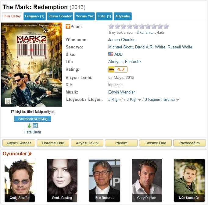 The Mark 2 Redemption - 2013 BDRip x264 - Türkçe Altyazılı Tek Link indir