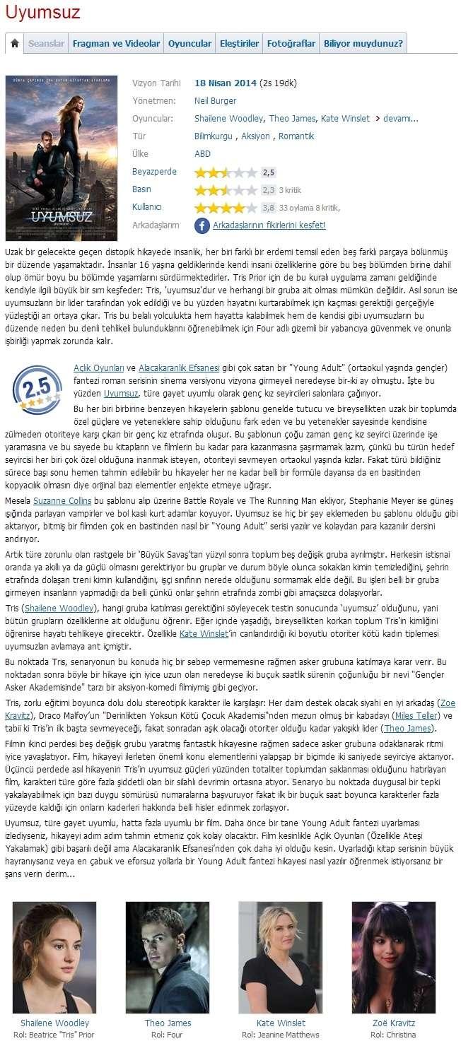 Uyumsuz - 2014 BDRip x264 - Türkçe Altyazılı Tek Link indir