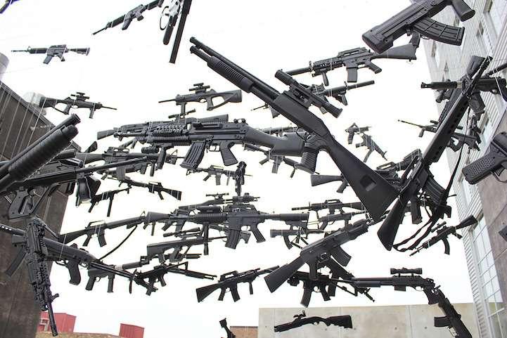 Gun Country oeuvre d'art représentant les États-Unis avec des armes