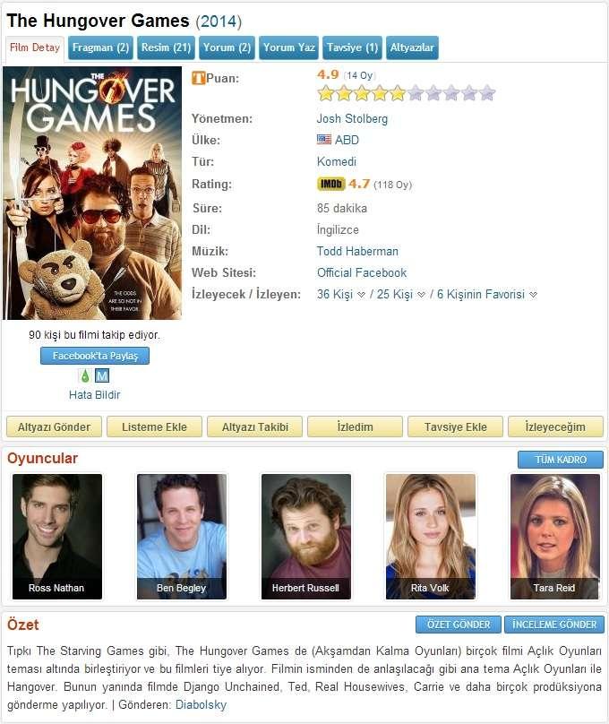 Felekten Açlık Oyunları - 2014 DVDRip x264 - Türkçe Altyazılı Tek Link indir