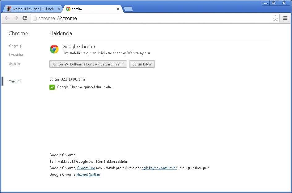 Google Chrome v32.0.1700.76 Türkçe (Win/Mac/Linux)