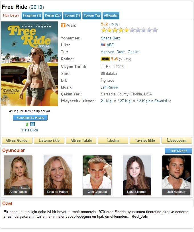 Free Ride - 2013 DVDRip x264 - Türkçe Altyazılı Tek Link indir
