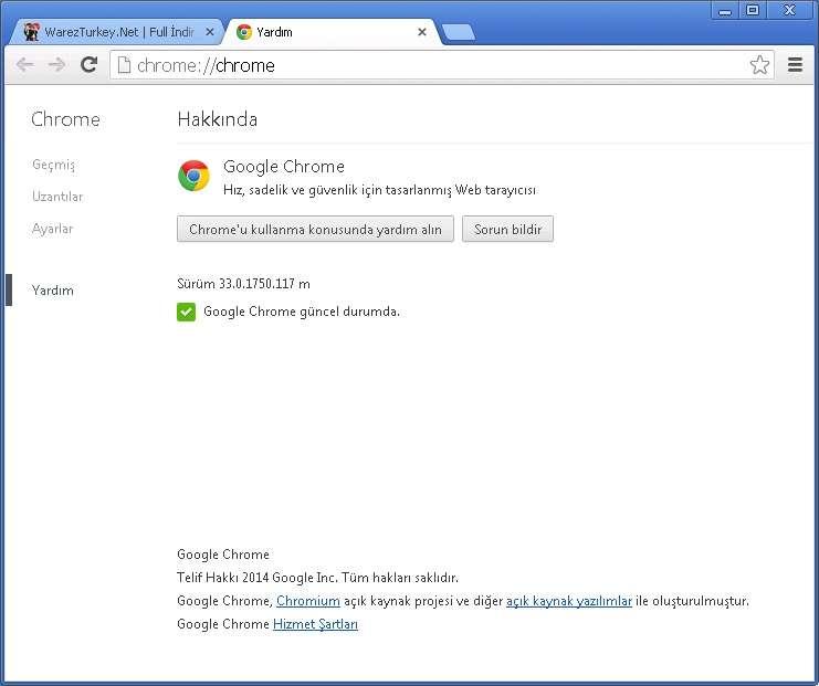 Google Chrome v33.0.1750.117 Türkçe (Win/Mac/Linux)