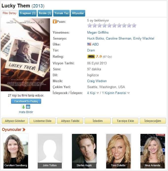 Lucky Them - 2013 DVDRip x264 - Türkçe Altyazılı Tek Link indir