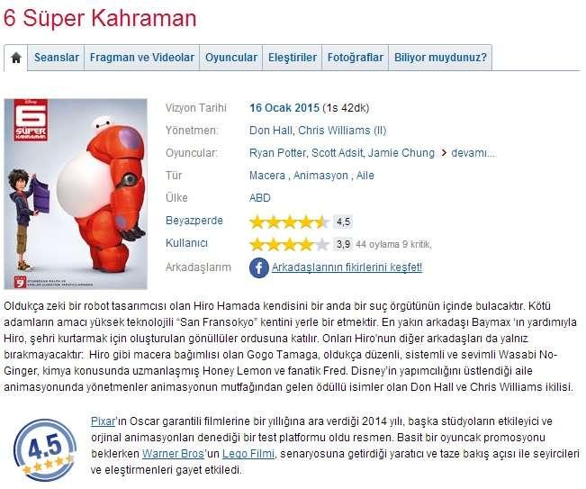 6 Süper Kahraman - 2014 BDRip x264 - Türkçe Altyazılı Tek Link indir