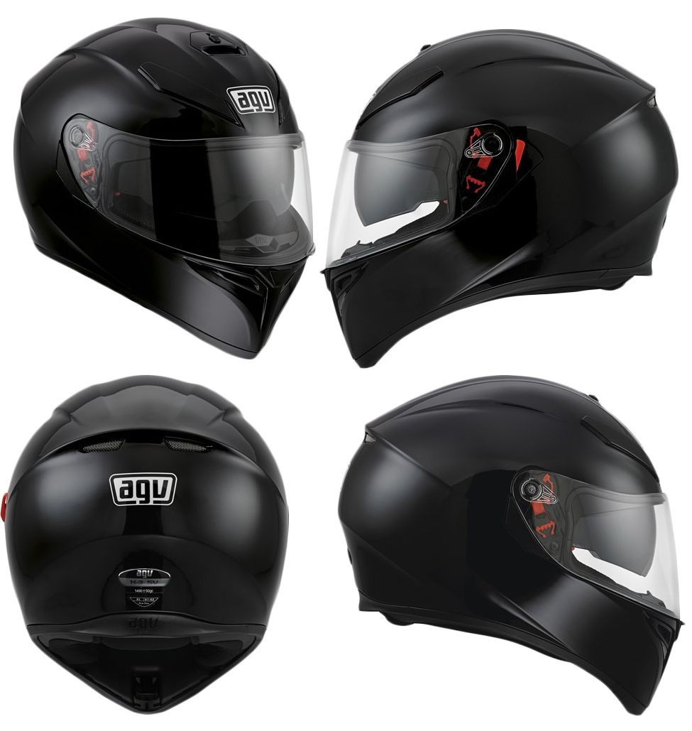 agv k3 sv dvs full face motorcycle helmet plain black white matt