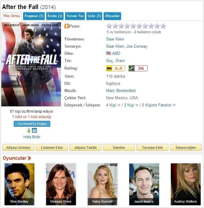 After The Fall - 2014 DVDRip x264 - Türkçe Altyazılı Tek Link indir