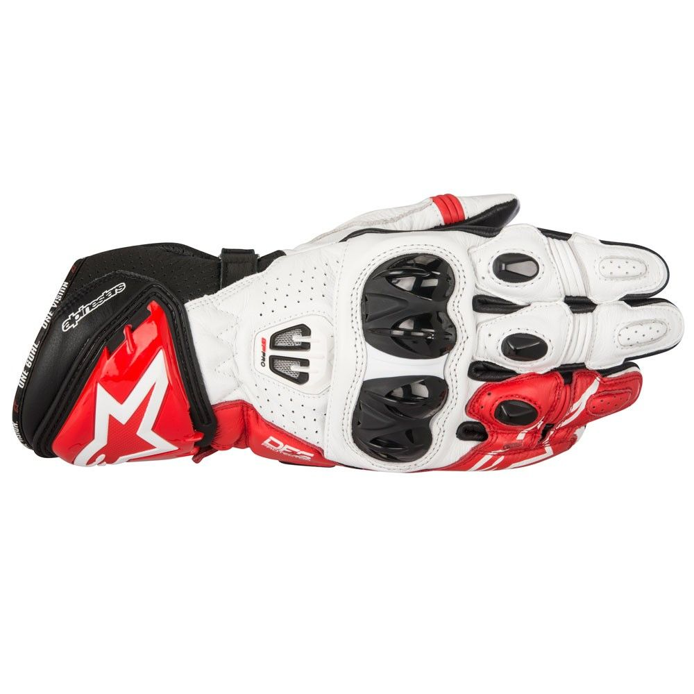 bfcace07d2e2d ALPINESTARS GP Pro R2 cuero Racing moto caballo guantes - negro blanco rojo