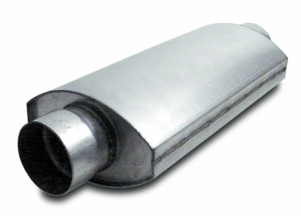 Muffler  Split Flow  Oval  3.00 Inch  14 Inches Long    Aluminized Steel
