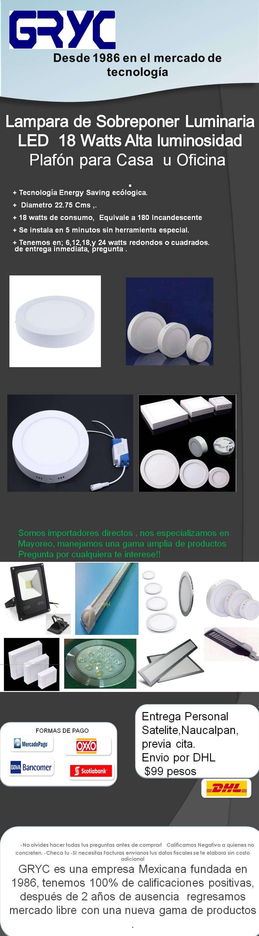 Lampara De Sobreponer Plafon Led 18w 18 watts luminaria