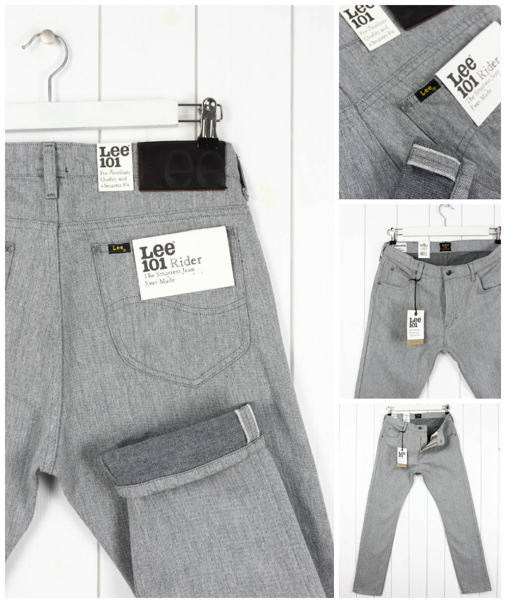 NEW LEE 101 RIDER 13Oz DENIM JEANS SELVAGE TAPERED SLIM FIT/_ ALL SIZES