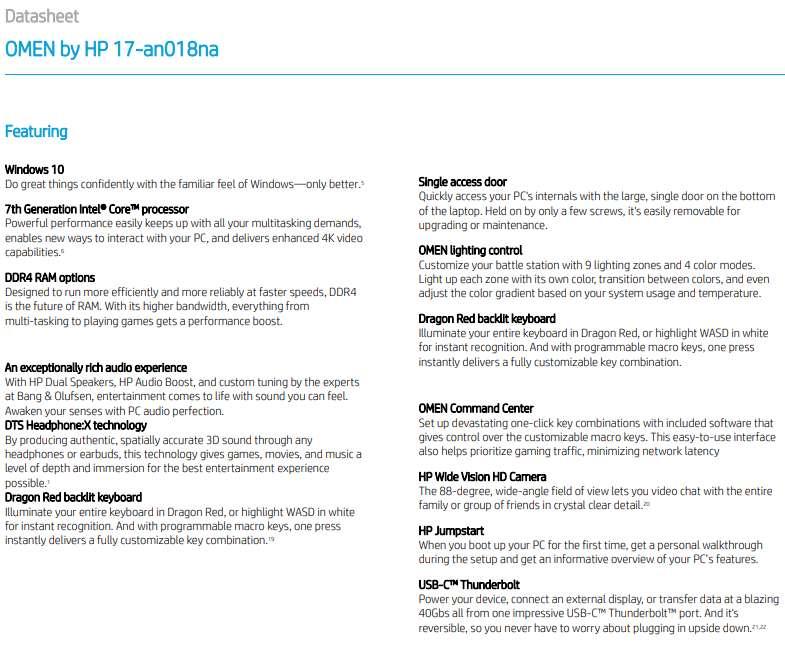 Details about HP OMEN 17-an018na 120Hz Gaming Laptop i7-7700HQ 16GB 1TB GTX  1060 6GB 2CS52EA