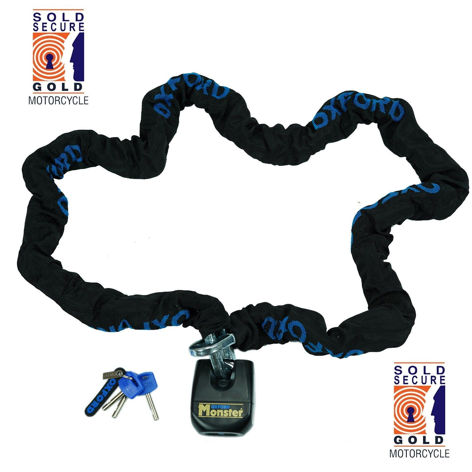 Oxford HD 2.0m Chain Lock Sold Secure Motorcycle Chain Lock Motorbike Scooter Best Security Theft Protection