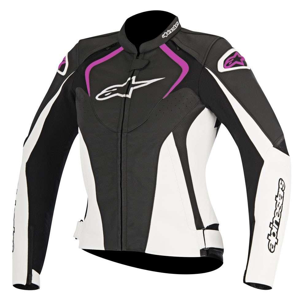 promo code 79ed2 fd991 Dettagli su Alpinestars Stella Jaws Donna Giacca in pelle da Moto -  Nero/Bianco/Rosa