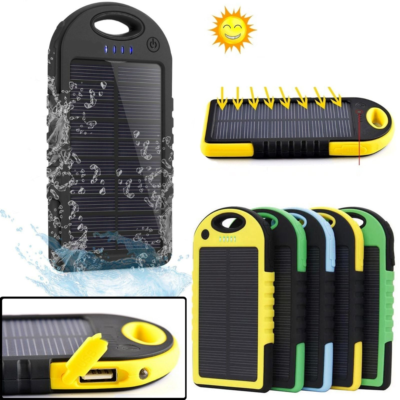 iphone 6 solar charger portable 5000mah waterproof solar charger power bank for 15086