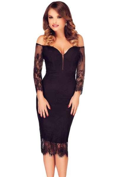e1bfb45ff694 Vestito donna pizzo abito lungo sera elegante vestitino damigella sexy.  DESCRIZIONE  Elegante vestito aderente nero