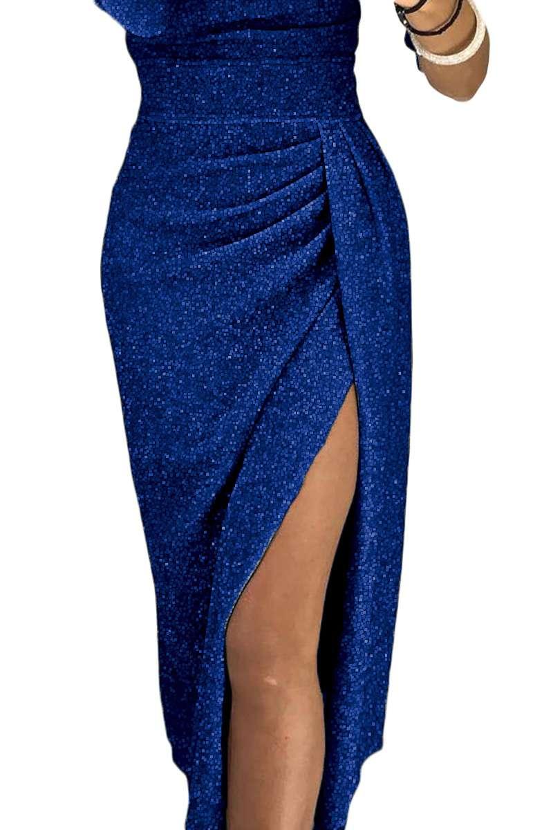 Vestito lungo donna elegante sexy abito da sera cerimonia laminato ... 89c05f9d77a