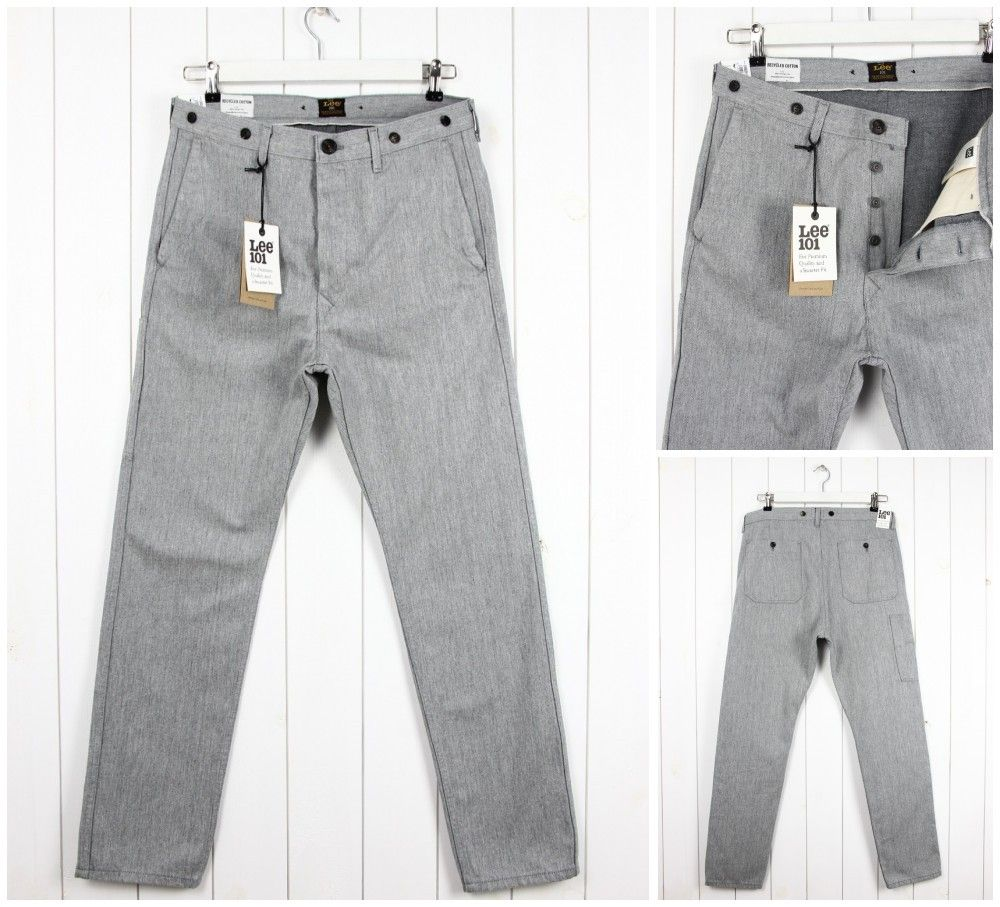 3bfa625644 Details about NEW LEE 101 11oz CHINO WORK SELVEDGE GREY SLIM TAPERED FIT  JEANS _ ALL SIZES