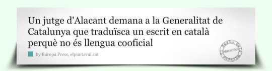 Notícia Jutge Alacant demana traducció català