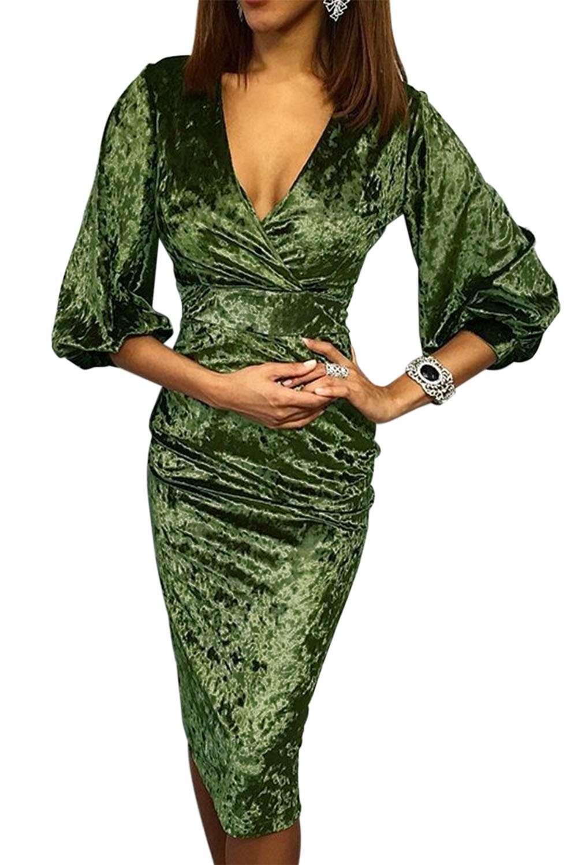 4da018a6893e Vestito da sera donna sexy abito elegante in velluto manica 3 4 ...