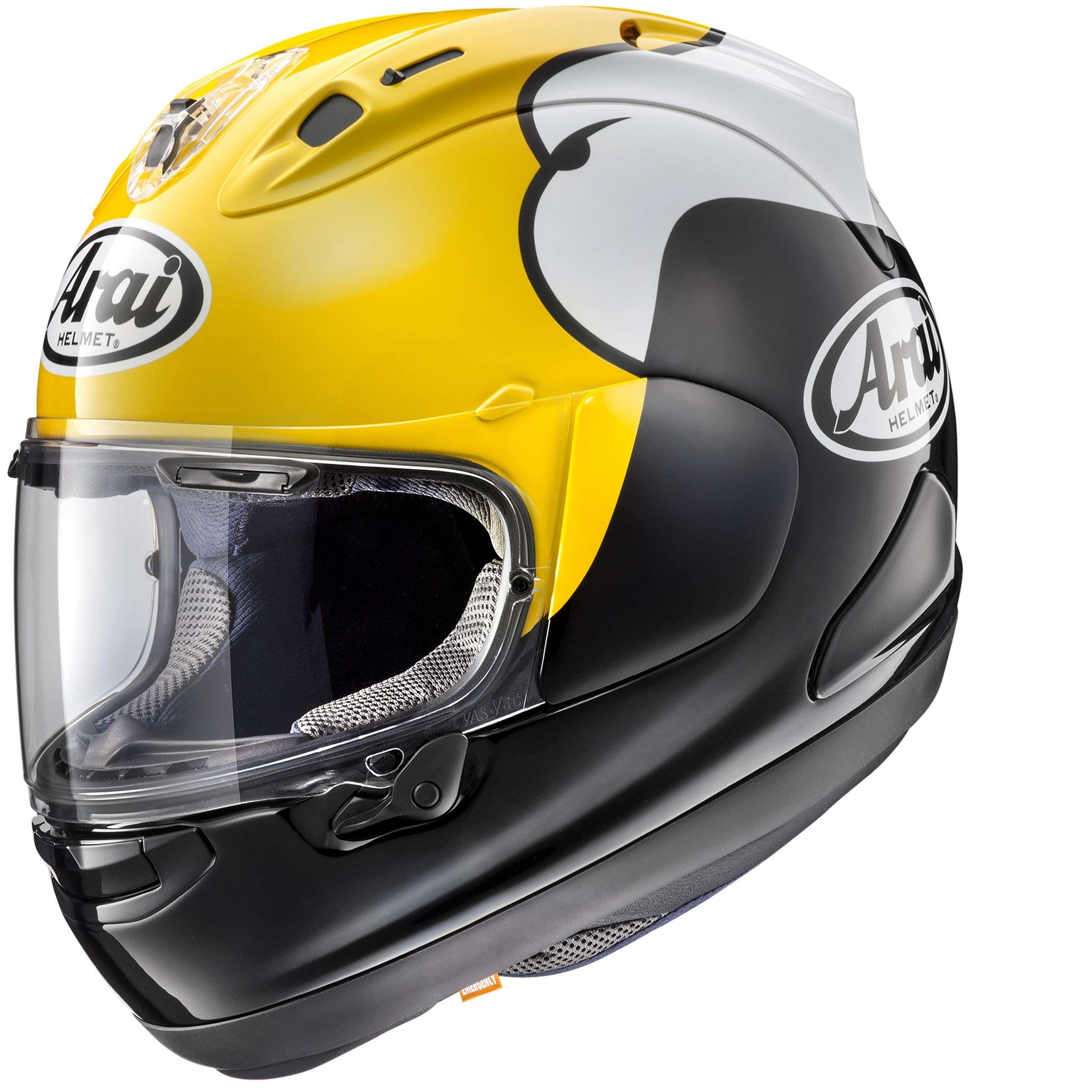 arai rx 7v full face race motorcycle replica helmet kenny roberts yamaha yellow ebay. Black Bedroom Furniture Sets. Home Design Ideas