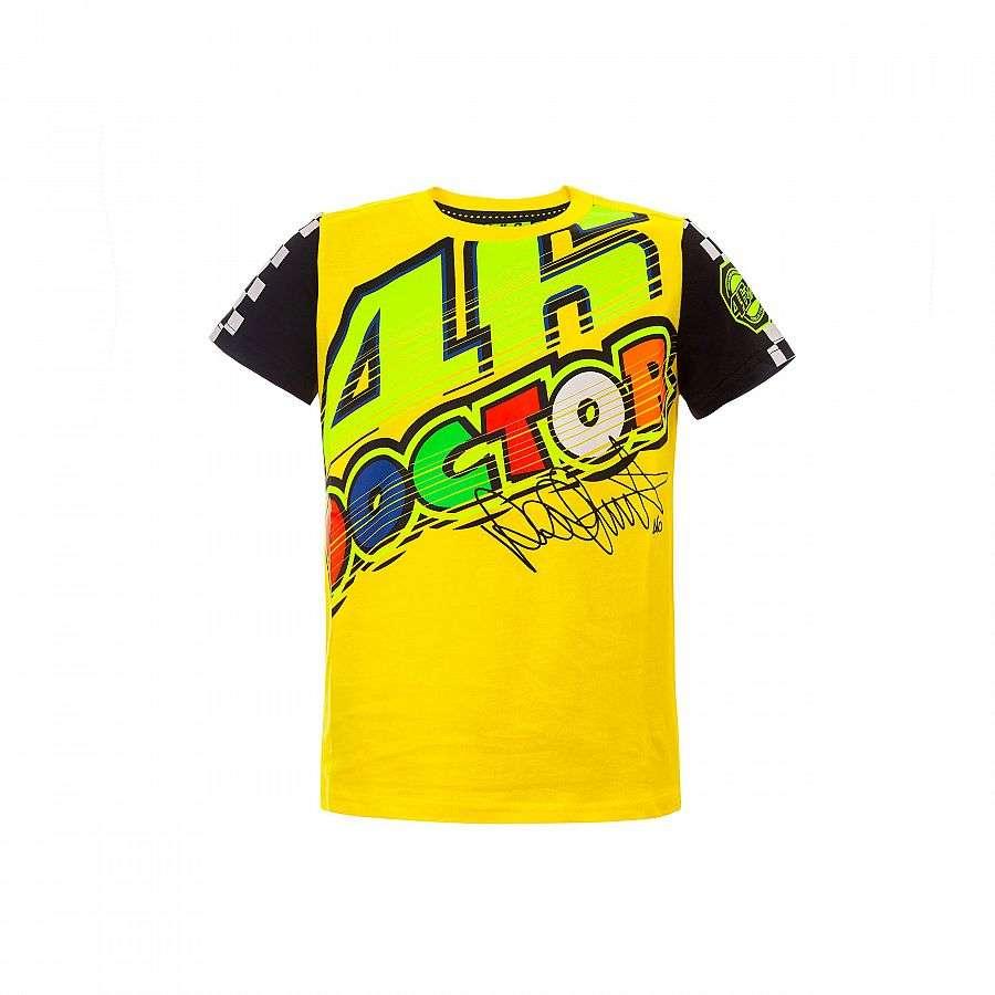f7595df5ec9 VR46 officielle Valentino Rossi MotoGP « Le docteur » Kid 46 coton T-Shirt  - jaune