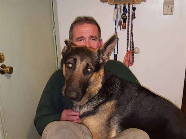 David Lombardo with his German Shepard