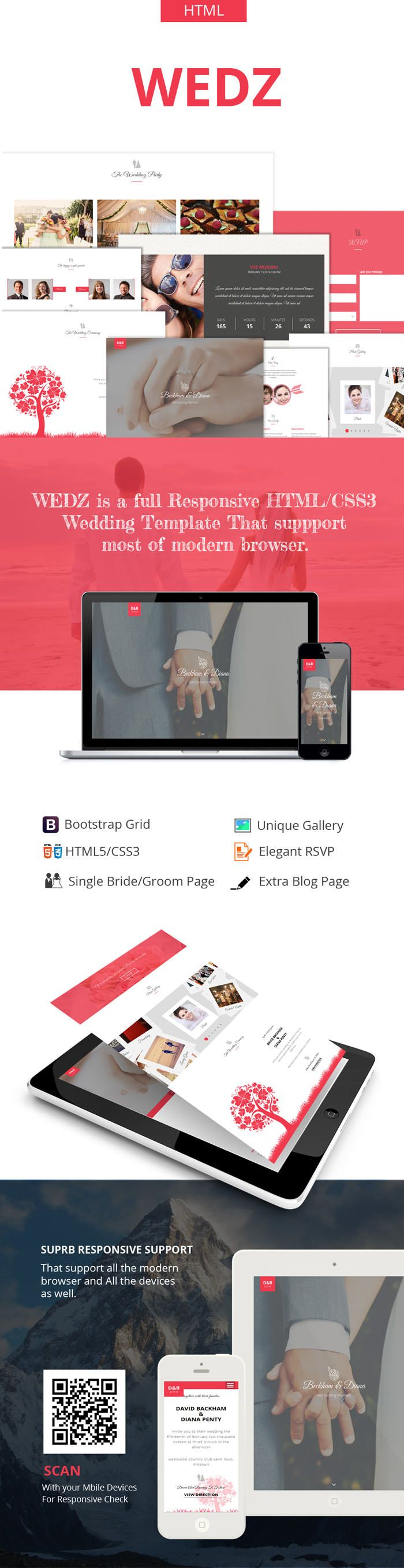 Wedz - Responsive HTML5 Wedding Template - 1