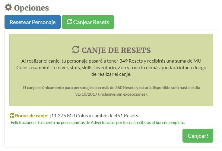 Imagen de la noticia Canjear Resets desde la web!