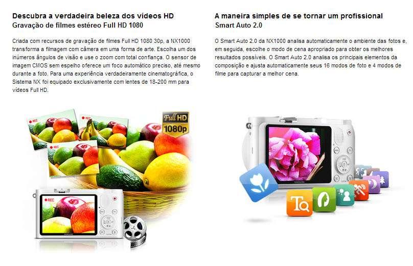 7ec63650a Samsung NX1000 Semi Profissional - 20.3 Mega Pixels - lentes ...