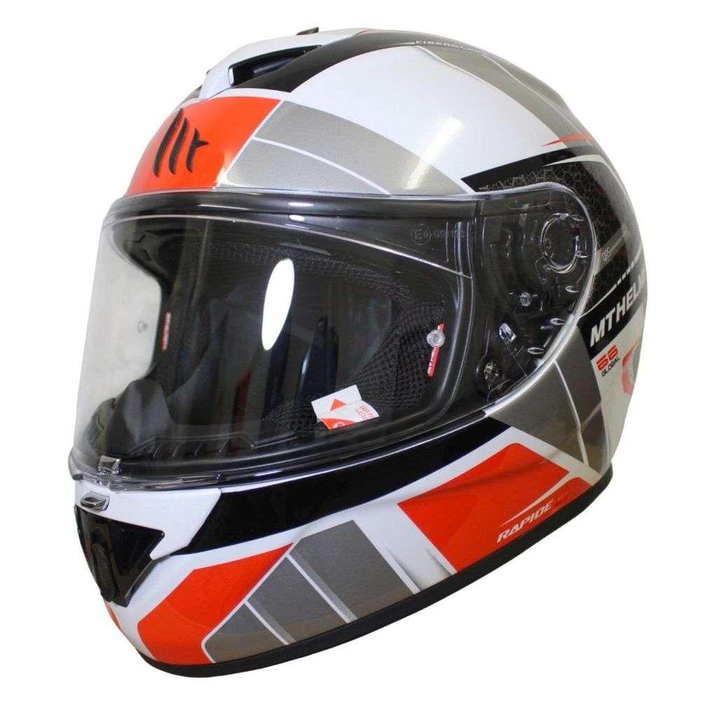 casco de la motocicleta de la cara llena Nolan gris usado en