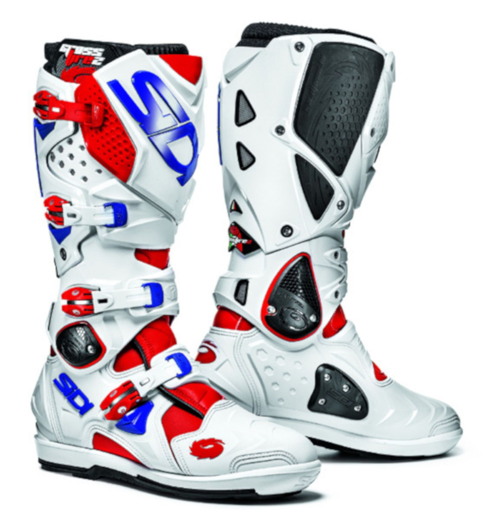 Details about Sidi Crossfire 2 SRS Motorcycle Motocross Enduro Boots RedWhiteBlue SALE