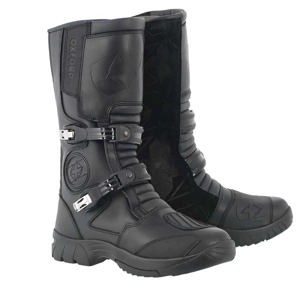 Oxford Explorer Motorcycle Motorbike Waterproof Leather Cruiser Boots – Black