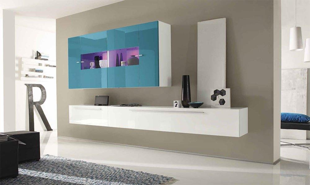 mobile soggiorno mediterraneo bianco turchese sala salotto moderno ... - Soggiorno Bianco E Turchese 2