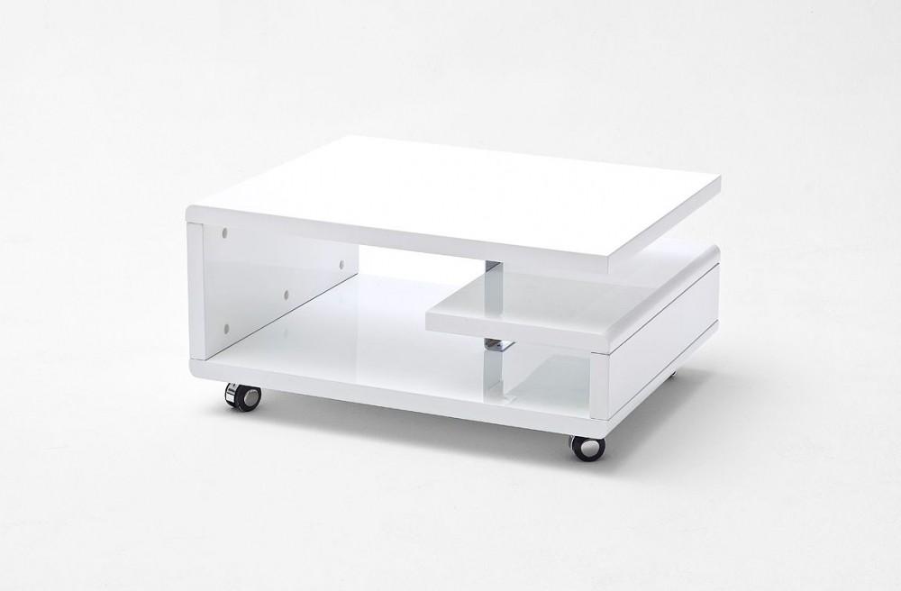 Tavolino salotto moderno con ruote treno bianco laccato 74x60 ...