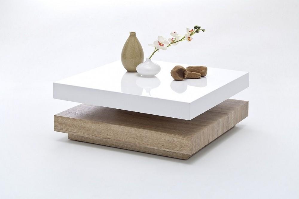 tavolino girevole modello movie bianco e rovere segato. Black Bedroom Furniture Sets. Home Design Ideas