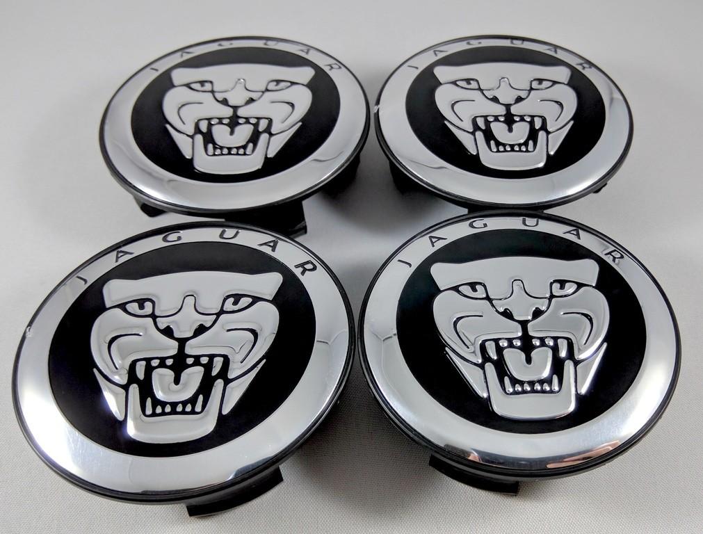 New Set Of 4x Jaguar Center Wheel Hub Caps 59mm Blackchrome S Type