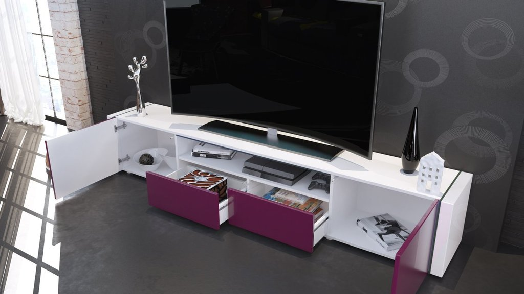 Mobile Tv Moderno Bianco : Casanova mobile porta tv moderno bianco e nero lucido