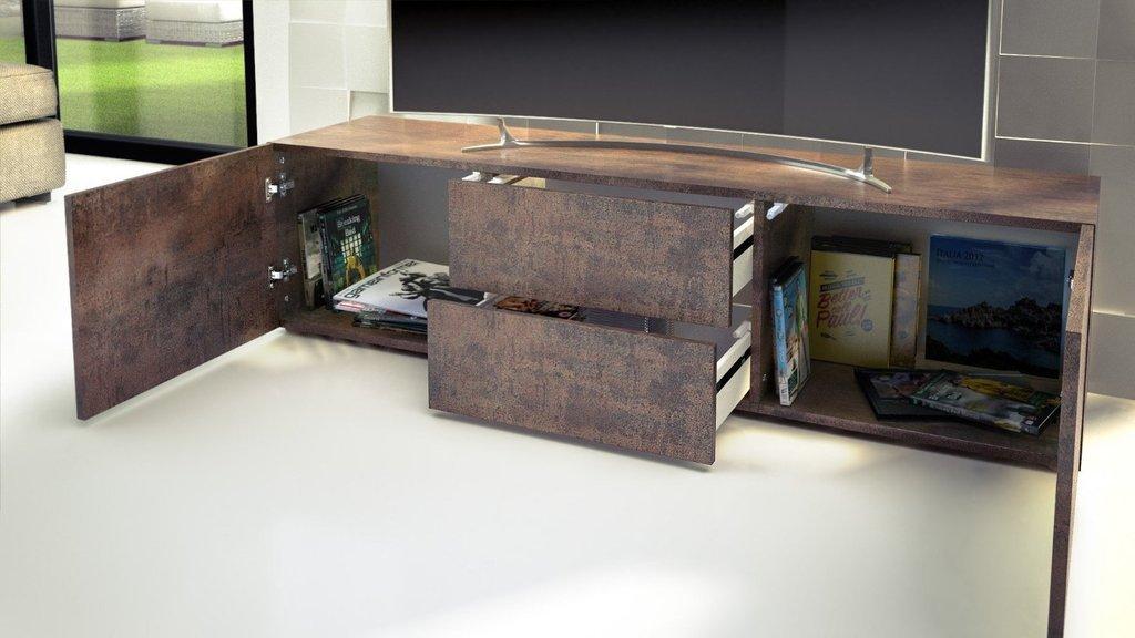 Porta tv moderno modello papavero colore acciaio antico mobile ...