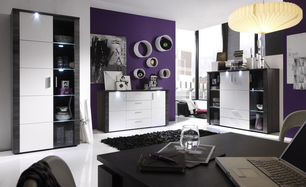 Composizione soggiorno moderno enjoy, parete bianca e grigia ...