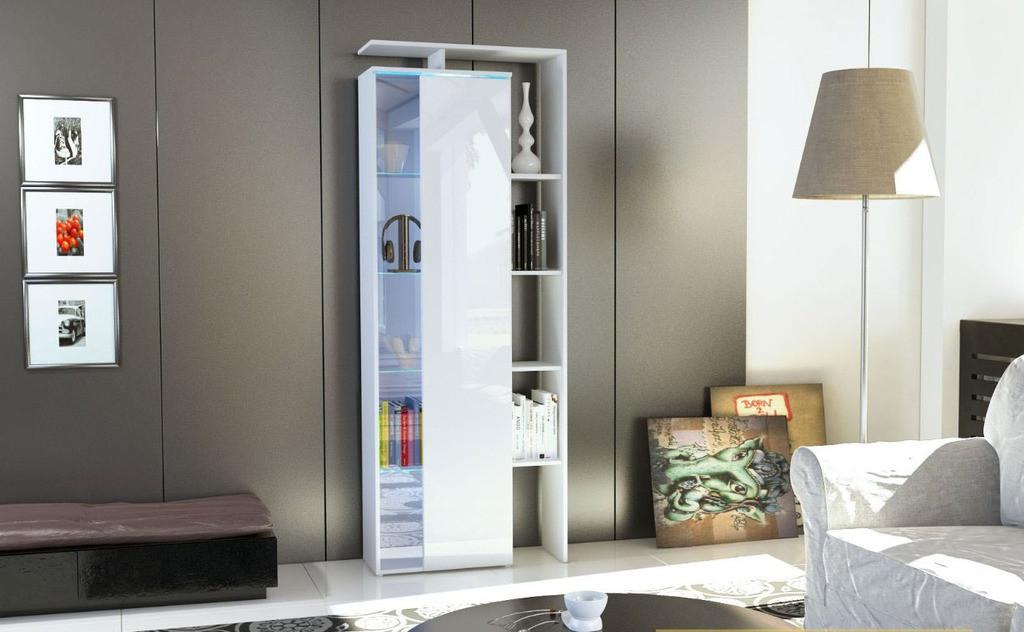 Colonna moderna,vetrina vetrinetta gamonda,h 189 cm,bianca lucida ...
