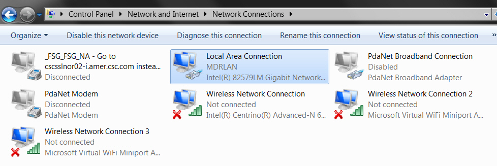 Laptop wired connection starts with