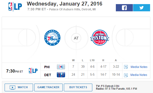 Official Gt Wednesday January 27 2016 Phi 76ers 7 39