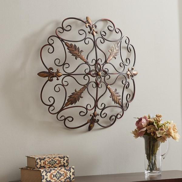 Elegant Iron Wall Decor : Elegant round wrought iron wall decor scroll fleur de lis