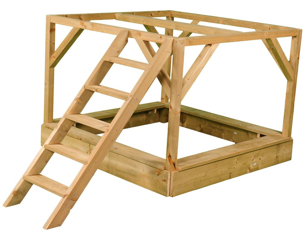 kinderspielhaus spielhaus holz mit plattform treppe sandkasten und rutsche ebay. Black Bedroom Furniture Sets. Home Design Ideas